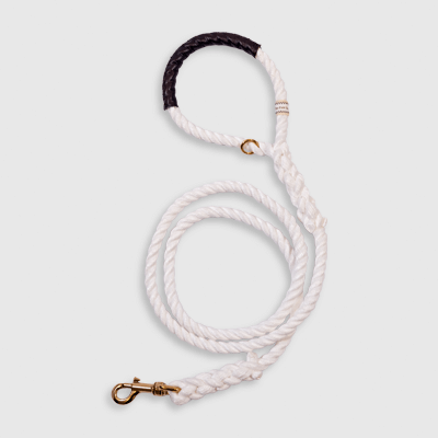 Classic White Calypso leash made by Fair Leads